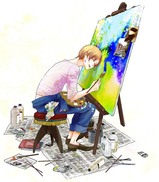 Tags: Anime, Pixiv Id 60964, Axis Powers: Hetalia, Holy Roman Empire, North Italy, Brush, Paint On Face, Canvas, Paint Tube, Painting (Action), Palette (Object), Newspaper, Fanart