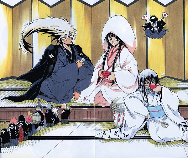 Tags: Anime, Shiibashi Hiroshi, Nurarihyon no Mago, Setsura (Nurarihyon no Mago), Nurarihyon, Yohime (Nurarihyon no Mago), Karasu Tengu (Nurarihyon), Yuki Onna (Nurarihyon), Shiromuku, Japanese Wedding, Yuki Onna, Scan, Official Art, Nura: Rise Of The Yokai Clan