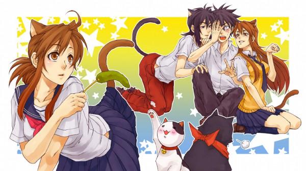 Tags: Anime, Pixiv Id 1265703, Nyan Koi!, Kousaka Junpei, Nyamsus, Mizuno Kaede, Tama (Nyan Koi), Sumiyoshi Kanako, Ichinose Nagi