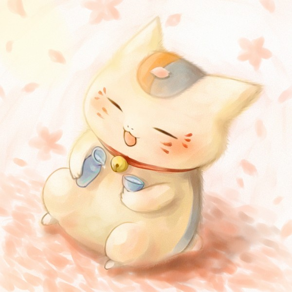 Tags: Anime, Sakurako (Moutan), Natsume Yuujinchou, Nyanko-sensei, Sake Bottle, Sakazuki, Pixiv, Fanart From Pixiv, Fanart