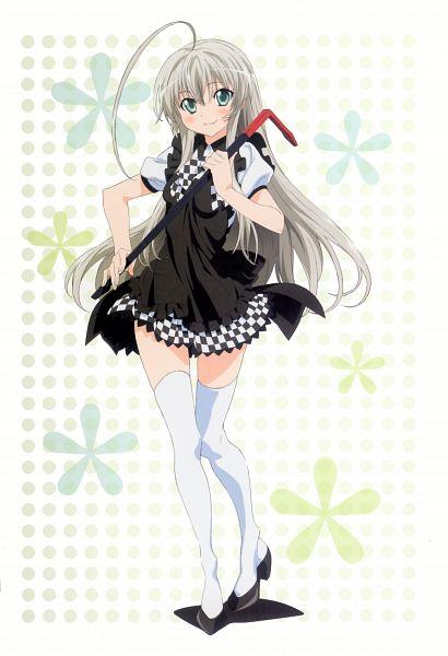 Tags: Anime, Haiyore! Nyaruko-san, Haiyore! Nyaruko-san Visual Collection, Nyarlko, Crowbar, Official Art, Mobile Wallpaper, Scan
