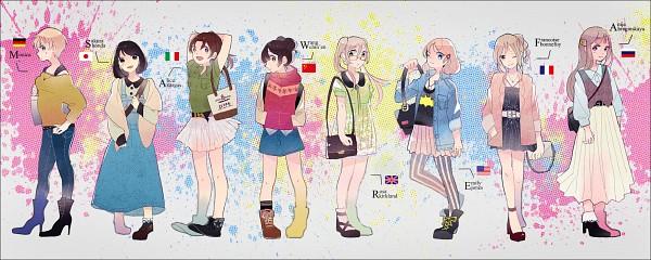Tags: Anime, Pixiv Id 600525, Axis Powers: Hetalia, Germany (Female), China (Female), North Italy (Female), Japan (Female), France (Female), United Kingdom (Female), Russia (Female), United States (Female), Handbag, Nyotalia