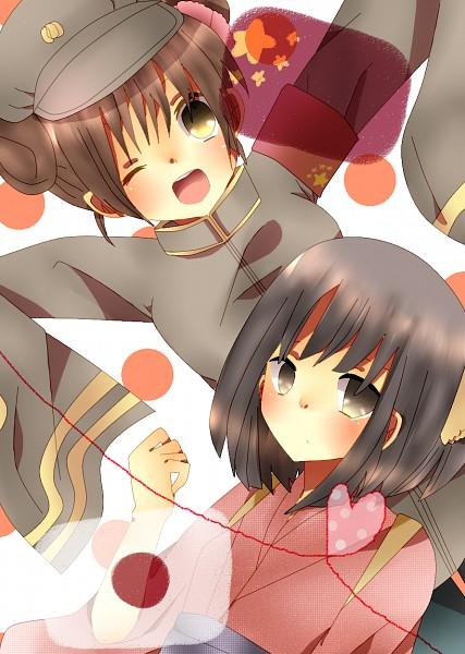 Tags: Anime, Pixiv Id 2107061, Axis Powers: Hetalia, Japan (Female), China (Female), Nyotalia, Mobile Wallpaper