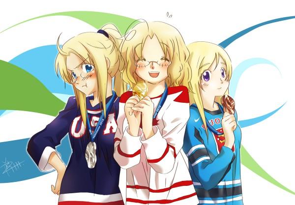 Tags: Anime, Piggy Ho Ho, Axis Powers: Hetalia, Finland (Female), United States (Female), Canada (Female), Nyotalia, Olympics
