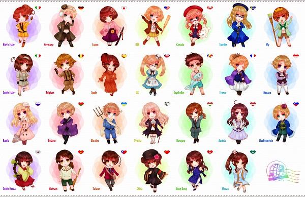 Tags: Anime, Pixiv Id 4376534, Axis Powers: Hetalia, Vietnam (Male), Austria (Female), Taiwan (Male), United States (Female), North Italy (Female), Principality of Wy (Male), Russia (Female), Seychelles (Male), Hong Kong (Female), Japan (Female)