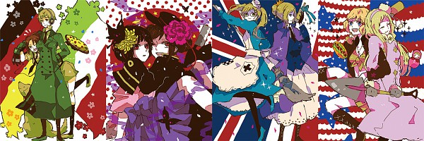 Tags: Anime, Mam233, Axis Powers: Hetalia, Russia (Female), Japan (Female), United States (Female), Germany (Female), China (Female), United Kingdom (Female), North Italy (Female), France (Female), Russian Doll, Flag Background