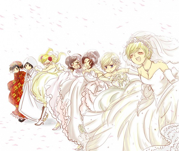 Tags: Anime, Sira, Axis Powers: Hetalia, South Italy (Female), United Kingdom (Female), North Italy (Female), Norway (Female), Finland (Female), Japan (Female), China (Female), Group Chase, Pixiv, Nyotalia