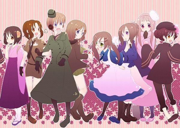 Tags: Anime, Namiri, Axis Powers: Hetalia, Germany (Female), South Italy, United States (Female), China (Female), Japan (Female), France (Female), United Kingdom (Female), Russia (Female), Nyotalia, Pixiv