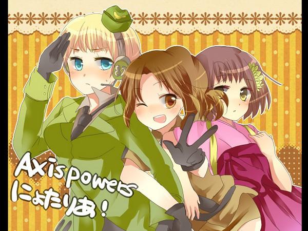 Tags: Anime, Usagiame, Axis Powers: Hetalia, Germany (Female), North Italy, Japan (Female), Nyotalia, Fanart, Pixiv