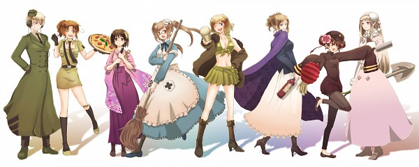 Tags: Anime, Axis Powers: Hetalia, Russia (Female), United States (Female), Germany (Female), China (Female), North Italy (Female), Japan (Female), United Kingdom (Female), France (Female), Pizza, Shovel, Baseball
