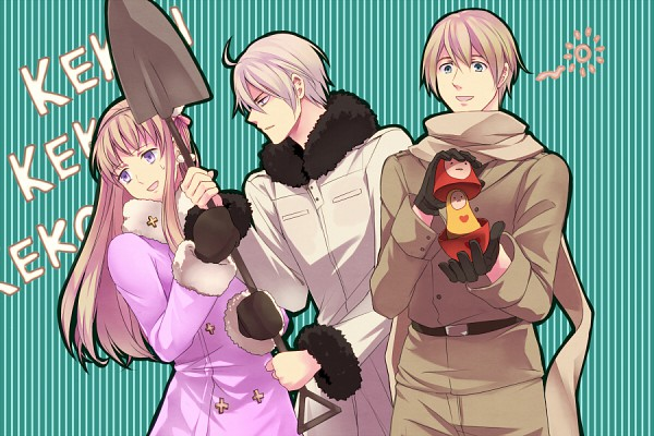 Tags: Anime, Oosugimichiko, Axis Powers: Hetalia, Russia (Female), Ukraine (Male), Belarus (Male), Russian Doll, Shovel, Fanart, Nyotalia, Pixiv, Soviet Union, Allied Forces