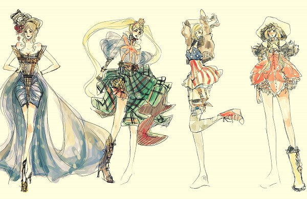 Tags: Anime, Viva-la-lixi (artist), Axis Powers: Hetalia, United States (Female), Canada (Female), United Kingdom (Female), deviantART, PNG Conversion, Nyotalia, Allied Forces