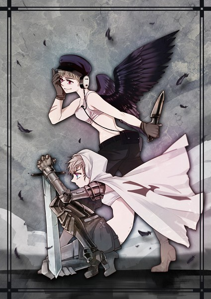 Tags: Anime, Ayaki (Pixiv23156), Axis Powers: Hetalia, Germany (Female), Prussia (Female), Mobile Wallpaper, Nyotalia, Player 2, Fanart