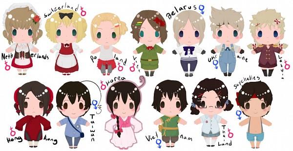 Tags: Anime, Axis Powers: Hetalia, Vietnam (Male), Latvia (Female), Ukraine (Male), Netherlands (Female), South Korea (Female), Taiwan (Male), Thailand (Female), Hong Kong (Female), Seychelles (Male), Poland (Female), Switzerland (Female)
