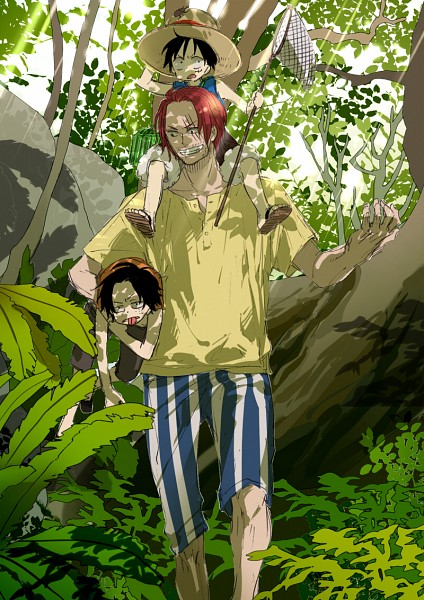 Tags: Anime, Pixiv Id 3106986, ONE PIECE, Portgas D. Ace, Shanks, Monkey D. Luffy, Striped Shorts, Fanart, Mobile Wallpaper