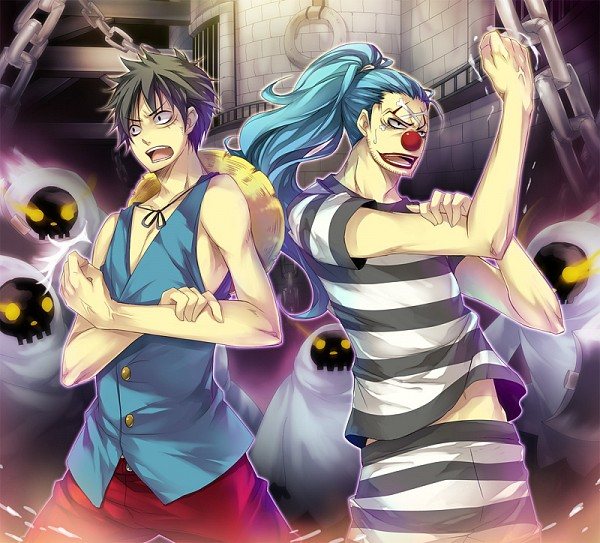 Tags: Anime, Ta Kaana, ONE PIECE, Buggy the Clown, Monkey D. Luffy, Prison Outfit, Impel Down, Prisoner, Fanart, Straw Hat Pirates