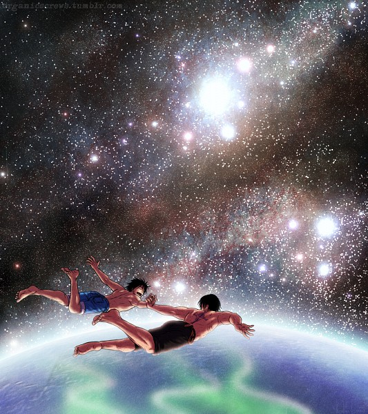 Tags: Anime, Pixiv Id 2573241, ONE PIECE, Portgas D. Ace, Monkey D. Luffy, Galaxy, Fanart, Pixiv, Fanart From Pixiv, D. Brothers