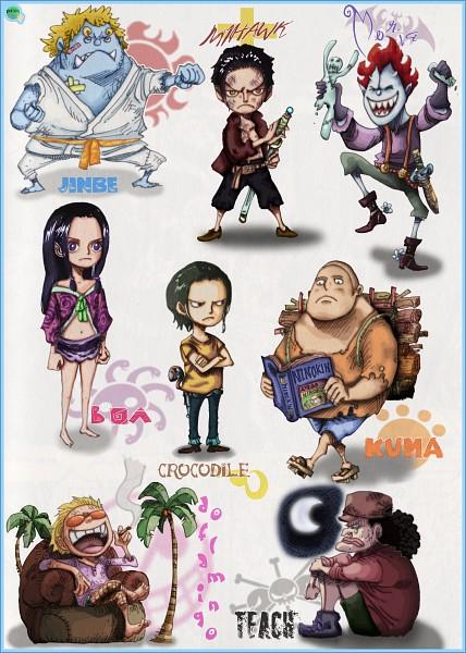 Tags: Anime, Oda Eiichirou, ONE PIECE, Donquixote Doflamingo, Dracule Mihawk, Boa Hancock, Bartholomew Kuma, Sir Crocodile, Marshall D. Teach, Gecko Moria, Jinbei, Mobile Wallpaper, Colorization