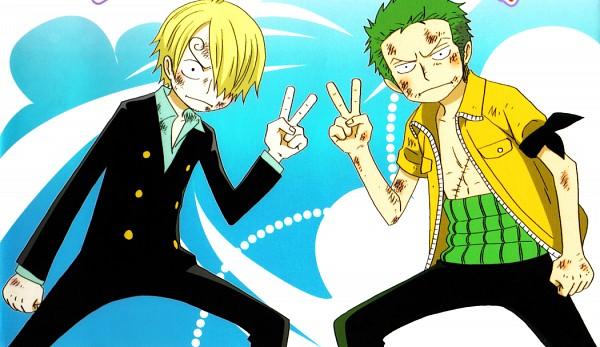 Tags: Anime, Oda Eiichirou, ONE PIECE, Roronoa Zoro, Sanji, Bruise, Yellow Outerwear, Yellow Jacket, Colorization