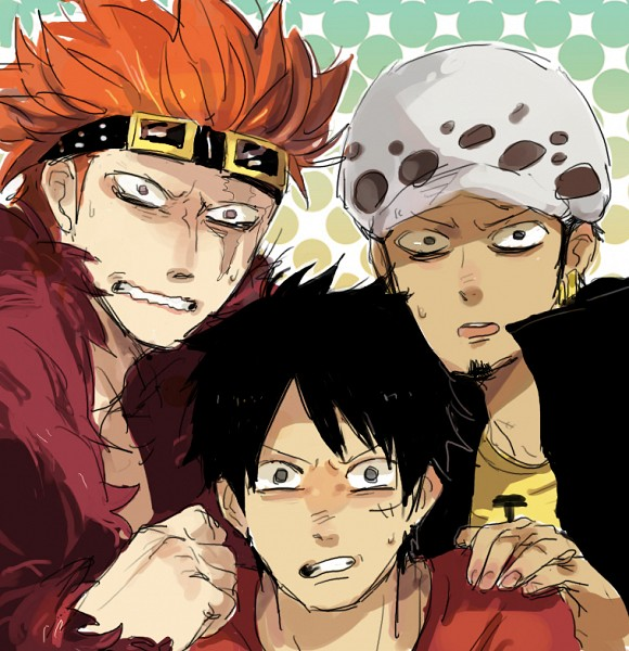 Tags: Anime, Pixiv Id 1257667, ONE PIECE, Monkey D. Luffy, Eustass Kid, Trafalgar Law, Red Coat, No Eyebrows, Sideburns, One Piece: Two Years Later, Fanart From Pixiv, Fanart, PNG Conversion