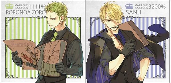 Tags: Anime, Pixiv Id 2558319, ONE PIECE, Roronoa Zoro, Sanji, Uta No☆Prince-sama♪ (Parody), Facebook Cover