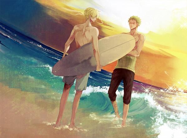 Tags: Anime, Milk (Pixiv1622971), ONE PIECE, Roronoa Zoro, Sanji, Surfboard, Pixiv, Fanart, Fanart From Pixiv, ZoSan