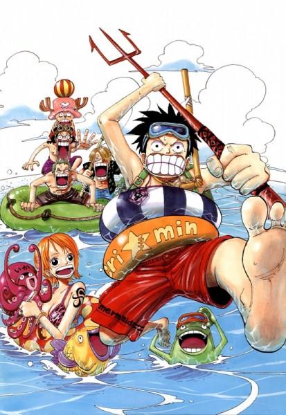 Tags: Anime, Oda Eiichirou, ONE PIECE, Color Walk 3 - Lion, Usopp, Roronoa Zoro, Sanji, Tony Tony Chopper, Nami (ONE PIECE), Monkey D. Luffy, Octopus, Mobile Wallpaper, Straw Hat Pirates