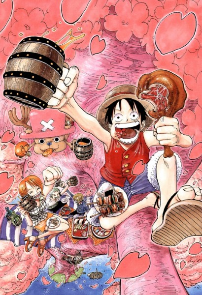 Tags: Anime, Oda Eiichirou, ONE PIECE, Color Walk 3 - Lion, Monkey D. Luffy, Usopp, Roronoa Zoro, Sanji, Tony Tony Chopper, Nami (ONE PIECE), Meat, Scan, Manga Page