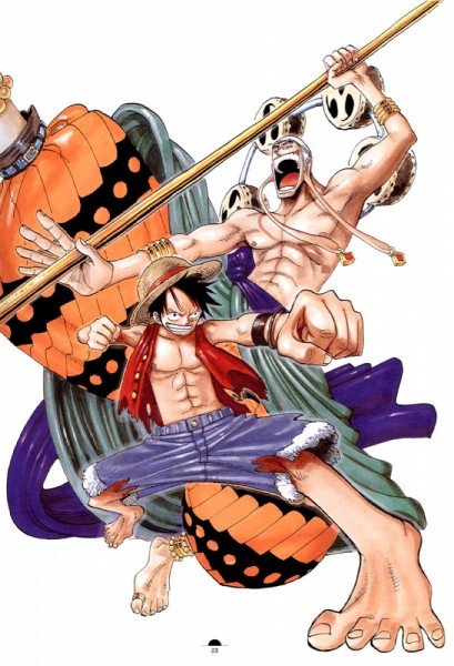 Tags: Anime, Oda Eiichirou, ONE PIECE, Color Walk 3 - Lion, Enel, Monkey D. Luffy, Official Art