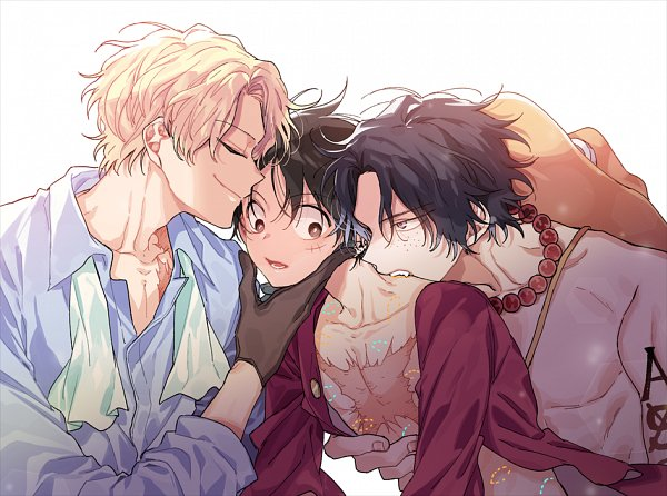 Tags: Anime, Pixiv Id 3550655, ONE PIECE, Sabo, Portgas D. Ace, Monkey D. Luffy, Bite Marks, Threesome, Fanart, Pixiv, Fanart From Pixiv, ASL
