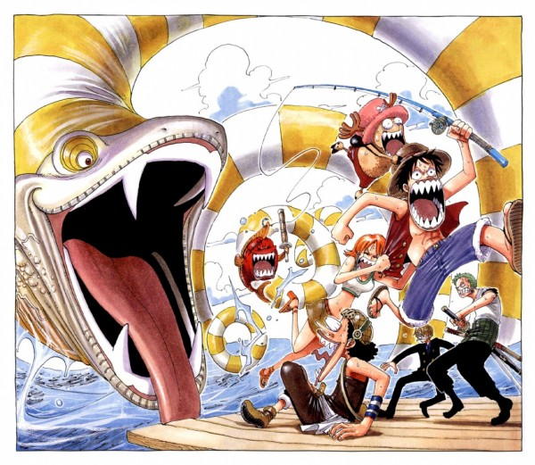 Tags: Anime, Oda Eiichirou, ONE PIECE, Color Walk 3 - Lion, Monkey D. Luffy, Usopp, Roronoa Zoro, Sanji, Tony Tony Chopper, Nami (ONE PIECE), Official Art, Straw Hat Pirates