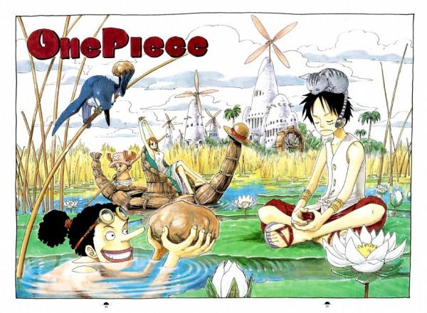 Tags: Anime, Oda Eiichirou, ONE PIECE, Color Walk 3 - Lion, Monkey D. Luffy, Usopp, Nami (ONE PIECE), Tony Tony Chopper, Windmill, Boat, Official Art, Straw Hat Pirates