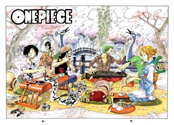 Tags: Anime, Oda Eiichirou, ONE PIECE, Color Walk 3 - Lion, Roronoa Zoro, Nico Robin, Tony Tony Chopper, Sanji, Monkey D. Luffy, Nami (ONE PIECE), Usopp, Peacock, Calligraphy
