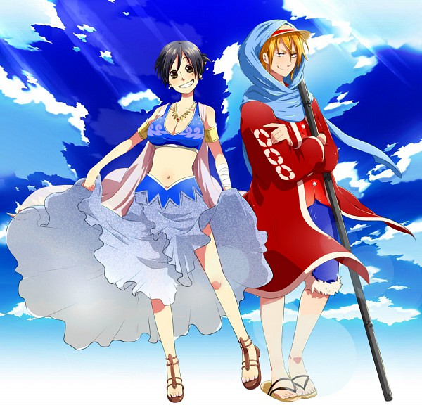 Tags: Anime, Kurok0, ONE PIECE, Luffy (Female), Monkey D. Luffy, Nami (ONE PIECE), Fanart From Pixiv, Fanart, Alabasta Arc, Pixiv, Straw Hat Pirates
