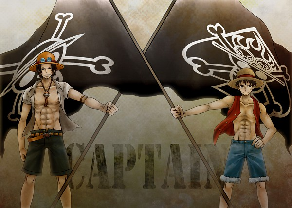 Tags: Anime, Honey Bunny, ONE PIECE, Portgas D. Ace, Monkey D. Luffy, Pirate Flag, Fanart, Pixiv, Whitebeard Pirates, Straw Hat Pirates, D. Brothers