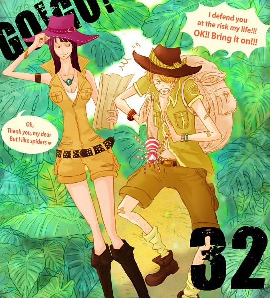 Tags: Anime, Pixiv Id 1308128, ONE PIECE, Sanji, Nico Robin, Straw Hat Pirates