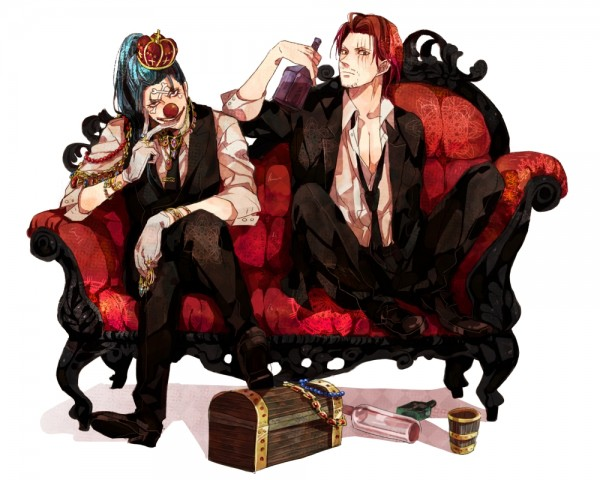 Tags: Anime, Natsuchiku, ONE PIECE, Buggy the Clown, Shanks, Emperor, Treasure Chest, Baggy Pants, Pixiv, Fanart