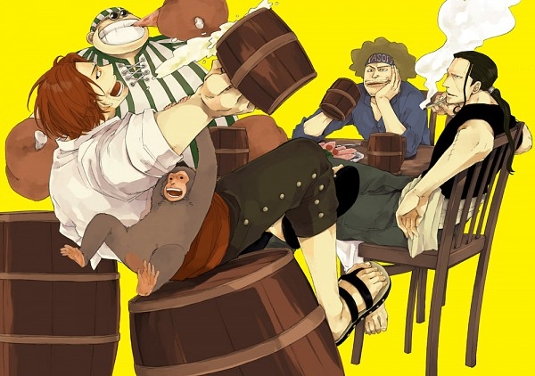 Tags: Anime, Pixiv Id 1774213, ONE PIECE, Ben Beckman, Yasopp, Shanks, Lucky Roo, Meat, Red Hair Pirates