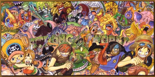 Tags: Anime, Oda Eiichirou, ONE PIECE, Strong World, Brook, Cow-ball, Del Kong, Monkey D. Luffy, Air Elephant, Nico Robin, Godwind, Shogun Jishi, Death Risu
