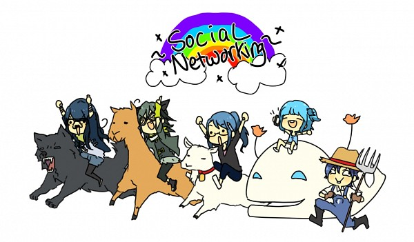 Tags: Anime, Jacket (Pixiv115077), Facebook-tan, Tumblr-tan, Twitter-tan, deviantART-tan, Livejournal-tan, Whale, >O<, Llama, Goat, Facebook, deviantART