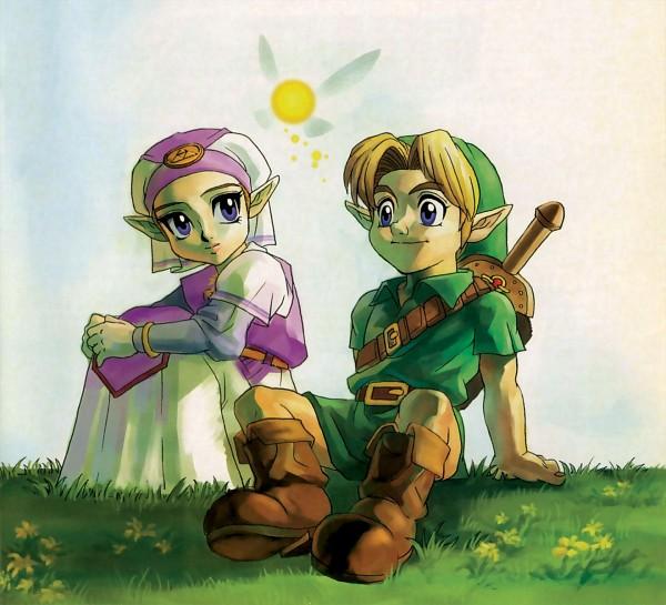 Tags: Anime, Nintendo, Ocarina of Time, Zelda no Densetsu, Navi, Princess Zelda, Link, Zelda (Toki no Ocarina), Link (Toki no Ocarina), Young Link, Young Zelda, Artist Request, Official Art