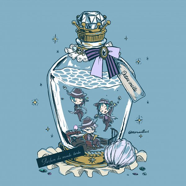 Tags: Anime, Pixiv Id 3620286, Twisted Wonderland, Jade Leech, Azul Ashengrotto, Floyd Leech, In a Bottle, Text: Band Name, Octavinelle
