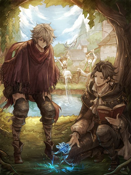 Tags: Anime, Pixiv Id 1241621, Octopath Traveler, Cyrus Albright, Tressa Colozone, Alfyn Greengrass, Therion (Octopath Traveler), Poncho, Rod, Fishing, Fishing Rod, Pixiv, Wallpaper
