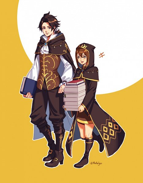 Tags: Anime, Mellalyss, Octopath Traveler, Cyrus Albright, Tressa Colozone, Fanart, Twitter