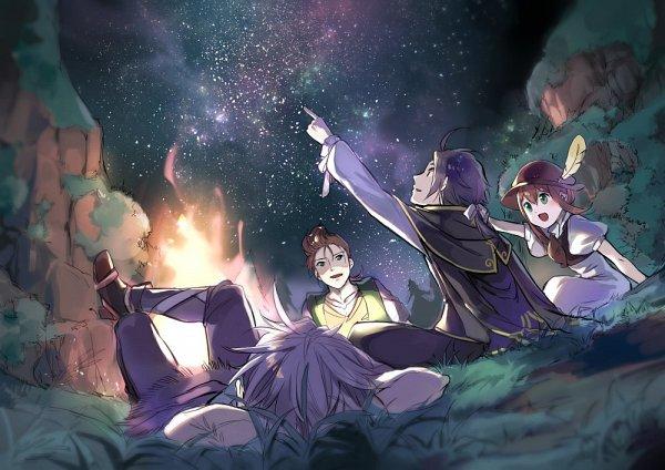 Tags: Anime, Oboro Keisuke, Octopath Traveler, Tressa Colozone, Alfyn Greengrass, Therion (Octopath Traveler), Cyrus Albright, Twitter, Fanart