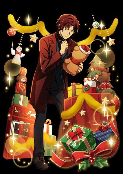 Tags: Anime, Ambition, Bungou Stray Dogs, Bungou Stray Dogs: Mayoi Inu Kaikitan, Oda Sakunosuke (Bungou Stray Dogs), Stuffed Reindeer, Candy Cane, Christmas Stocking, Wreath, Christmas Ornament, Official Art, Official Card Illustration