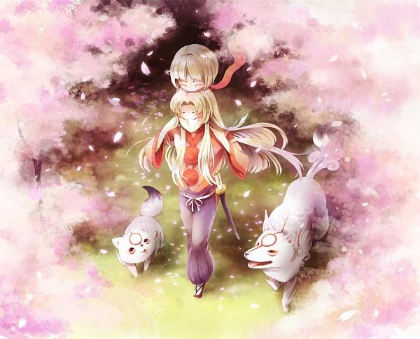 Tags: Anime, Pixiv Id 449047, Okami, Okami Den, Amaterasu, Chibiterasu, Ushiwakamaru (Okami), Kurow, Pixiv, Fanart From Pixiv, Fanart