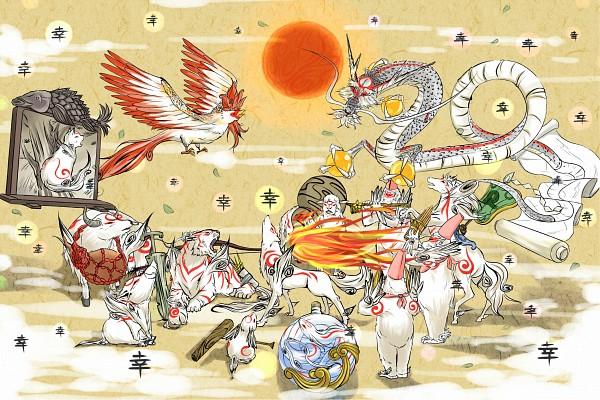 Tags: Anime, Pixiv Id 1395946, Okami, Moegami, Yomigami, Nuregami, Amaterasu, Tachigami, Kazegami, Tsutagami, Itegami, Kasugami, Gekigami