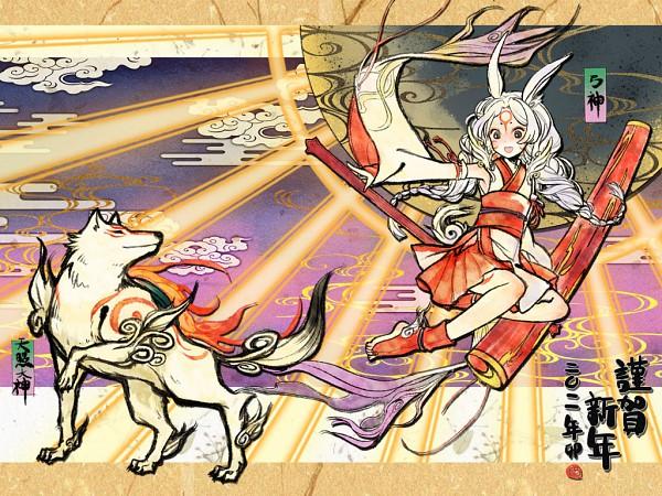 Tags: Anime, Sunday31, Okami, Amaterasu, Yumigami, Egasumi, Rising Sun Motif, Wallpaper