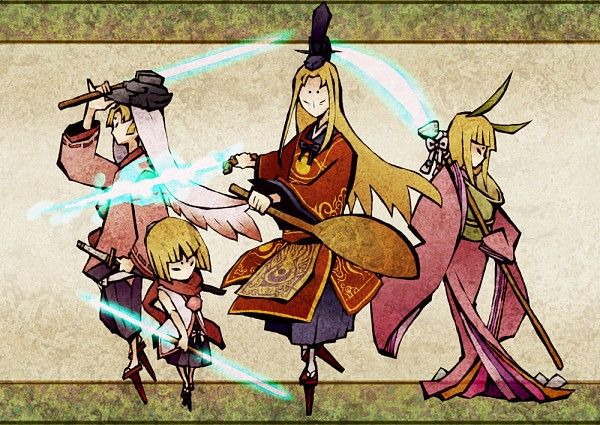 Tags: Anime, Sakanahen, Okami, Okami Den, Ushiwakamaru (Okami), Kaguya (Okami), Sugawara no Michizane, Kurow, Dark Colors, Naginata, Mouthless